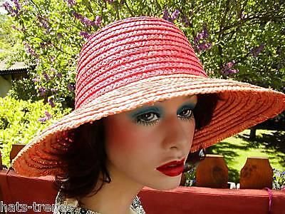 Farbige Ernte (Großer Strohhut  Lachsfarbig/Orange Hut  Garten Ernte  Strohhüte Damenhüte)
