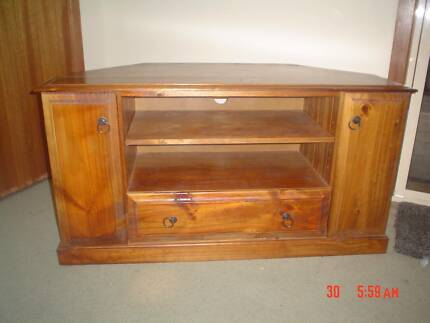 tv cabinet solid timber with glass doors | Entertainment & TV ...