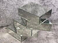 5 tiered mirrored side table - new