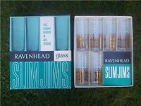 "1960's Kitch! Boxed Set Ravenhead Slim Jims. Six Glasses ""Tall Elegant Gay Designs"""