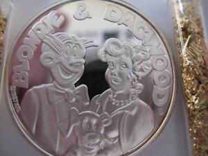 1 Oz 999 Pure Silver 1987 Amc Cartoon Celebrities Dagwood