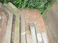 3 x 10 foot crank top barb wire heavy duty concrete posts + 3 x 8 foot struts - USED -GOOD CONDITION