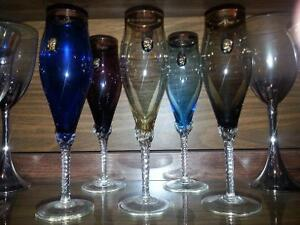 Birks limited edition colored Champaign glasses.