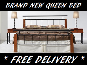 Queen Size Timber and Iron Bed Frame BRAND NEW with FREE DELIVERY New Farm Brisbane North East Preview