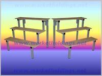 Market Trader Table Counter Top Metal Display Stands + Wooden Shelves (Set of 2)