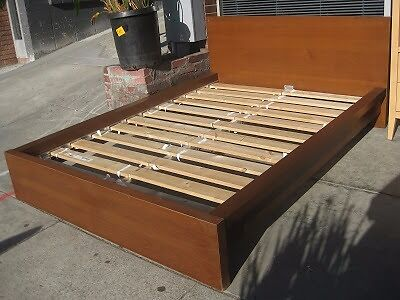 bed frameikea malm brown stained ash veneerlury standard double size bed used - Double Size Bed Frame