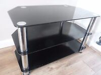 """Black Gloss Glass TV Stand Cabinet Suitable For LCD LED Plasma 26 to 60"""" Inches"""