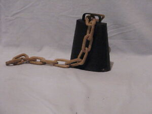 Vintage Iron Cow Bell with hand carved wooden chain