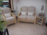 Conservatory Furniture in natural wash banana leaf with planed arms with cushions and tables
