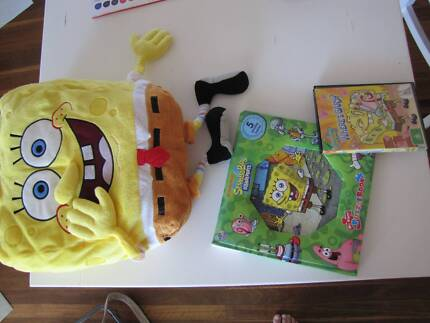 SpongeBob stuff toy + DVD + Puzzle book (5 puzzles)