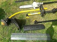 Ryobi 2 stroke petrol strimmer with chainsaw and hedge trimmer attachment
