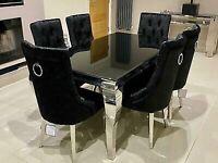 Brand New Louis Black Glass 1.6m Dining Table + 6 French Black Velvet Knocker Chairs