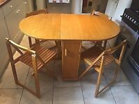 Butterfly folding table with 4 chairs