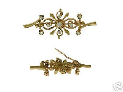 Estate 14Kt Yellow Gold Diamond 1950's Bar Pin