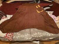 NEW INDIAN cotton brown ART AFGANI YOGA TROUSERS GYPSY HAREM with 2 pockets. One size (regular)