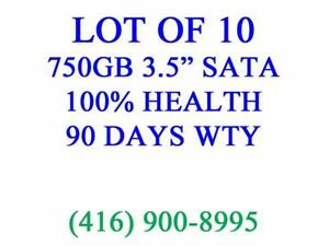 "LOT OF 10 x 750GB SATA 3.5"" DESKTOP HARD DRIVES - 100% TESTED, 100% HEALTH, 90 DAYS WARRANTY"