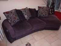 4 seater curved settee+2 armchairs, +pouffe.