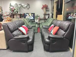 TODAY DELIVERY LUXURY GENUINE LEATHER ALL RECLINER 3X3 sofas set Belmont Belmont Area Preview