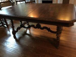 Antique dining table, 5 chairs & buffet