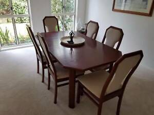 Mahogany stained table and chairs with matching display cabinet Kenmore Hills Brisbane North West Preview
