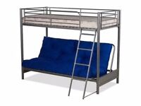 SILVER HIGH SLEEPER BED WITH FUTON DOES NOT COME WITH MATTRESS PLEASE LOOK AT ALL THE PICS