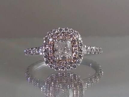 1.25 CARAT PINK Diamond and Diamond engagement ring, Halo Cushion