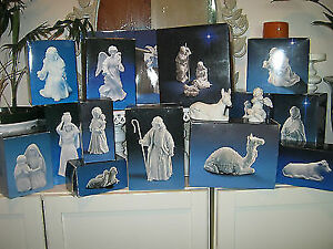 1980 AVON Porcelain Bisque Nativity Holy Family set Collectible