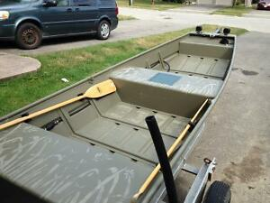 14' JON BOAT TRACKER WITH TRAILER 14 FOOT ALUMINUM FLAT BOTTOM