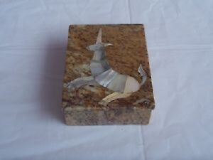 Vintage Granite Trinket Box with Mother of Pearl Inlay--Manitoba
