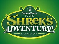 * ONLY £10 EACH * TICKETS FOR SHREK'S ADVENTURE LONDON - MUST USE BY 28/02/17 - 4 AVAILABLE RRP £27