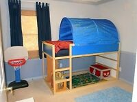 Ikea Kura High /Low Sleeper Bed with canopy and mattress.