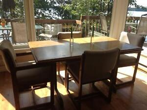 Solid wood with oak veneer dining table and 4 chairs