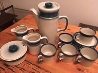 Wedgwood Blue Pacific coffee pot, 2 milk jugs, 1 sugar pot, 5 mugs with plates