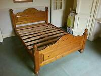 Pine double bed with matress very good condition