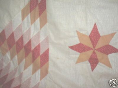 antique large star quilt top red salmon color hand sewn