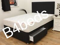 DOUBLE FAUX LEATHER DIVAN + ORTHOPAEDIC / MEMORY FOAM MATTRESS + 2 DRAWS + HEADBOARD