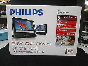 """Brand New Philips 9""""LCD Dual Screen Portable DVD Player"""