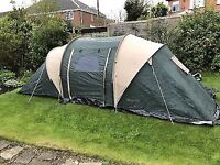 Pro Action 6 Man Person 2 Room Tent With Canopy Waterproof Green