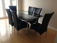 ITALIAN BLACK DOUBLE GLASS DINING TABLE