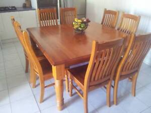 Solid timber dining table set Campbelltown Campbelltown Area Preview