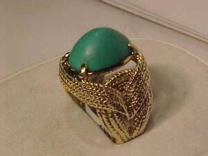 #3204-ANTIQUE TURQUOISE 14K GOLD RING SIZE 9 1/2-17 GRAMS TOTAL-HALLMARKED-SHIP IN CANADA ONLY EBANK TRANSFER ONLY
