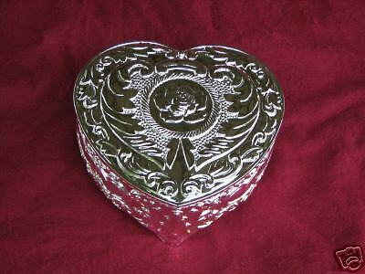 Heart Shaped  Silver Jewelry Treasure Trinket Box