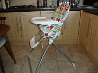 Mamas & Papas Highchair with safety harness & tray, unisex design, folds flat to store