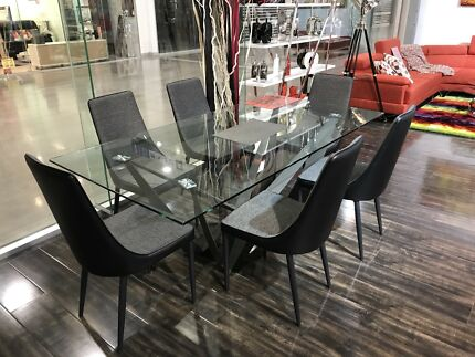 Glass and Steel Dining Table - 6 Chairs - 3mths Old