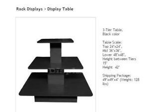 Showcases, TableS présentoir, podiums, Bois massif, Metal, verre,
