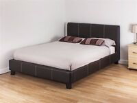 Two double Beds (Cot) (with or without mattress) - leather finish - SOLD