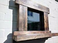 Gorgeous Rustic Reclaimed Wood Mirrors With Shelf