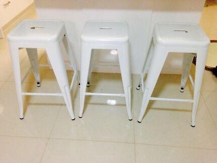 3 x white bar stools
