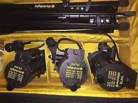 4 head Dedo Light Kit + Gobo Projector & Accessories