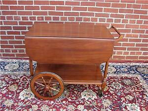 HENKEL HARRIS SOLID CHERRY TEA CART IN EXCELLENT ESTATE CONDITIO